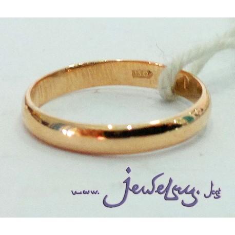 Золотое обручальное кольцо шириной 3 мм, 375 пробы