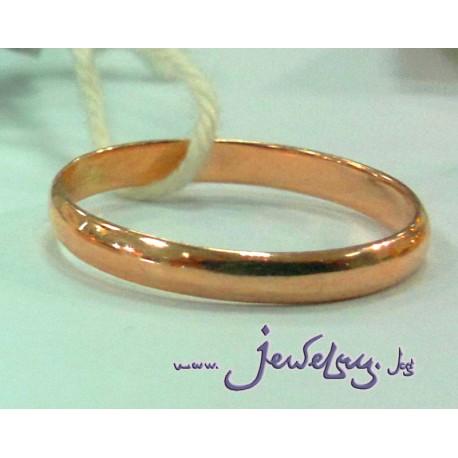 Золотое обручальное кольцо шириной 3 мм, 585 пробы