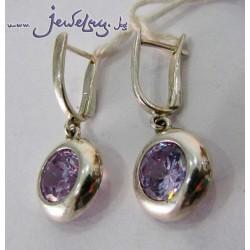 Серебряные серьги с фиолетовыми цирконами