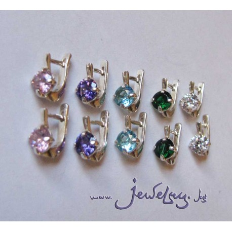 Серебряные серьги  с прозрачным или цветным камнем