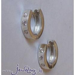 Серебряные серьги  -Колечки с тремя цирконами