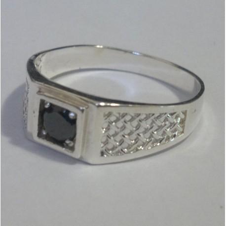 Мужское кольцо с черным цирконом