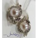 Серебряные серьги с жемчугом и цирконами