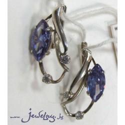 Серьги серебряные с аметистом и цирконами