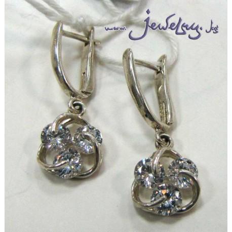 Серебряные серьги с тремя цирконами