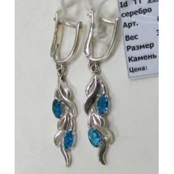 Серебряные серьги  с синим  цирконом