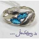 Серебряное кольцо с синим  цирконом