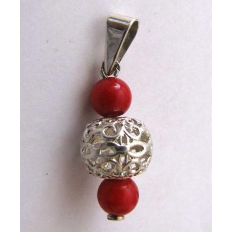 Серебряная подвеска с ажурным шариком. С бирюзой, кораллом или гранатом.