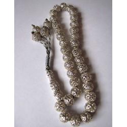 Чётки Мусульманские, серебряные, из 33-х бусин.