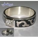Серебряное кольцо, с азиатским орнаментом, залитым горячей черной эмалью