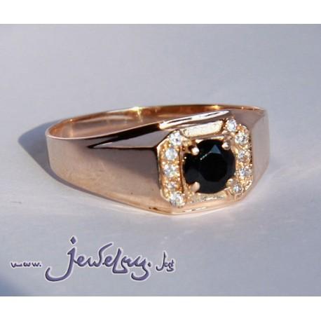 Золотое, мужское кольцо с черным камнем