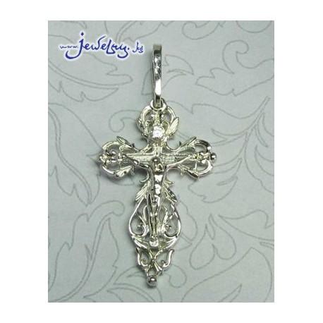 Серебряный нательный крест с цирконом